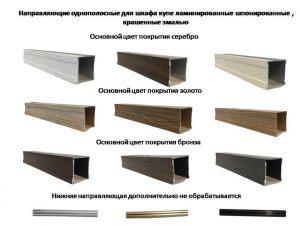 Направляющие однопосные для шкафа купе ламинированные, шпонированные, крашенные эмалью Казань
